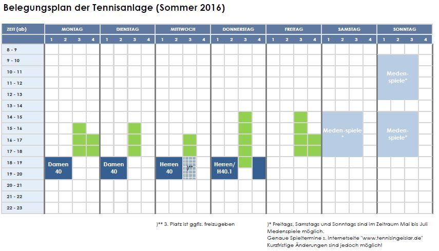 Wochenplan Sommer 2017