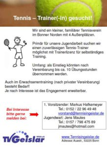 Tennis – Trainer(-in) gesucht!